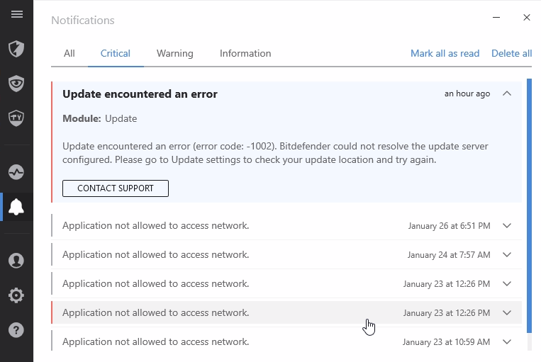 What to do when encountering update errors in Bitdefender 2017