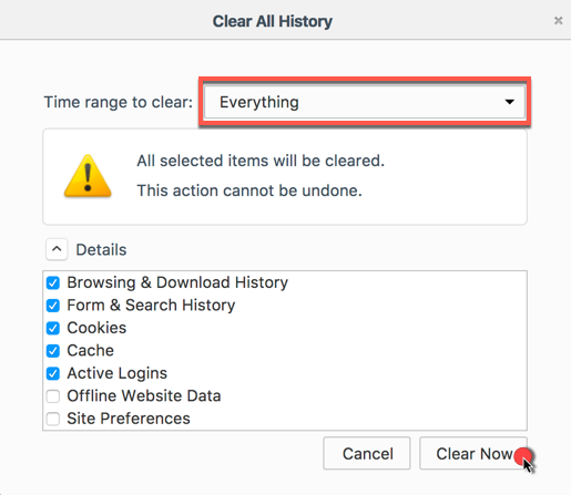 how to clear web history on firefox
