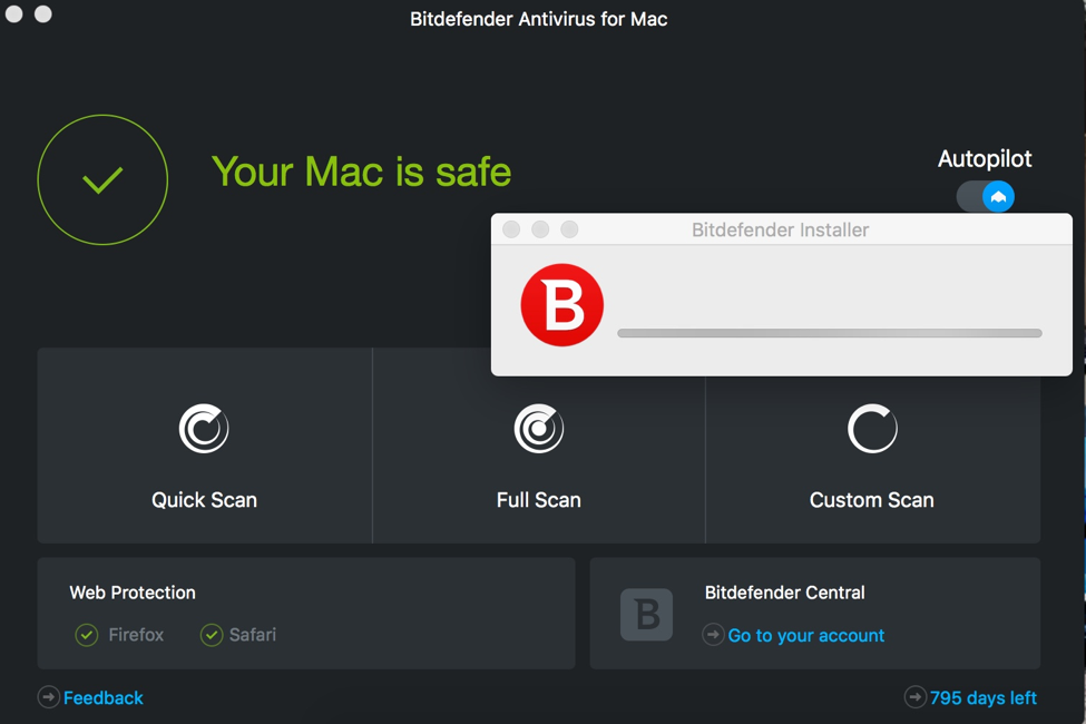 I installed Bitdefender but the installer window remains on the screen