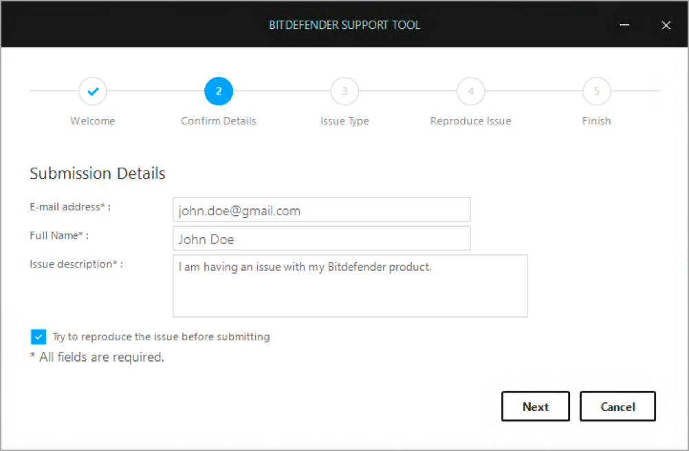 How to generate a support tool log when Bitdefender is installed
