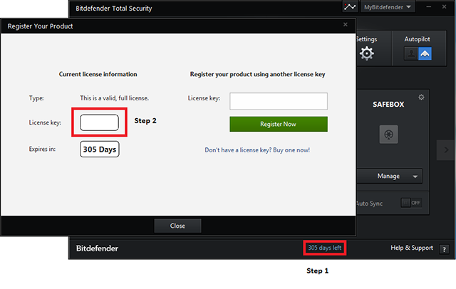 bitdefender license key from order number