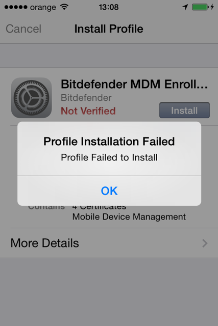 Profile Installation Failed error when activating iOS devices