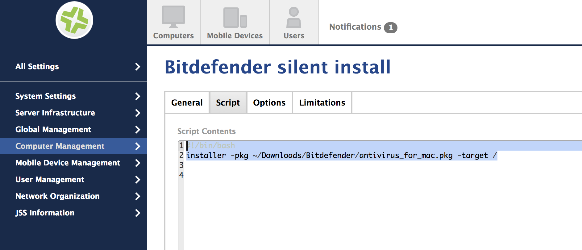 How to install Bitdefender Endpoint Security for Mac through Jamf
