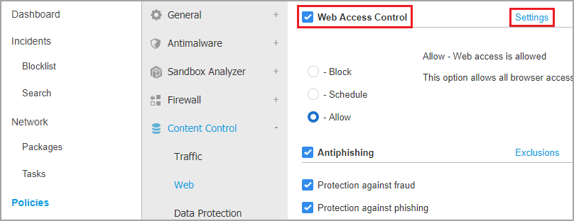 Block or Allow specific websites with Content Control