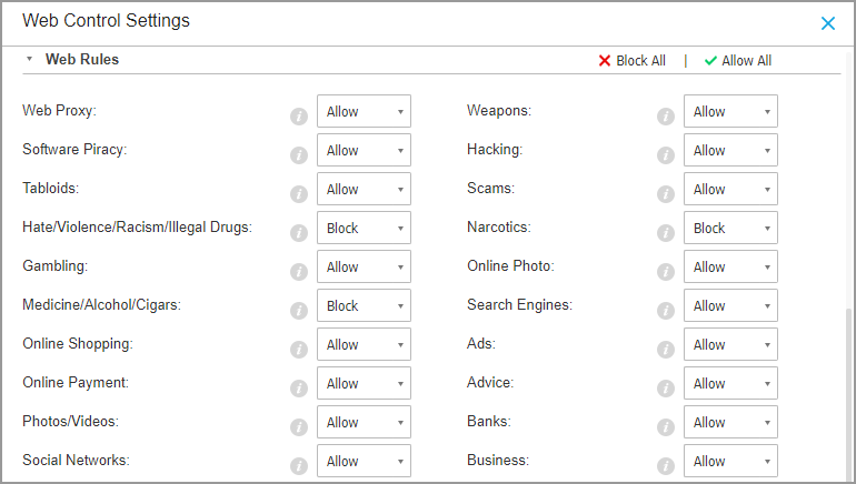 Web Categories in GravityZone Content Control