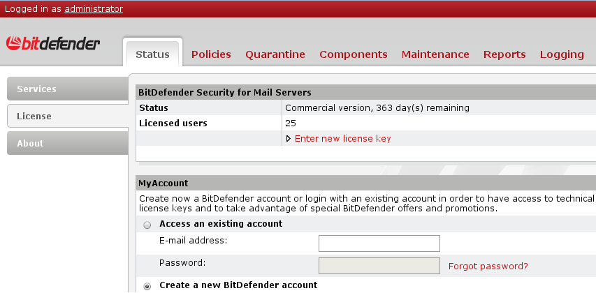 How to configure Bitdefender Security for Mail Servers from Remote Admin - UNIX