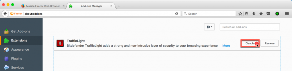 how to disable browser extensions in firefox