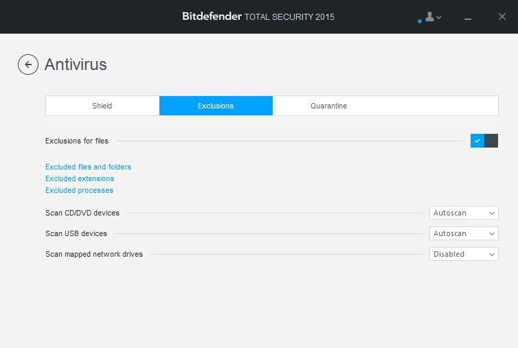 How to add antivirus exclusions (exceptions) in Bitdefender 2015