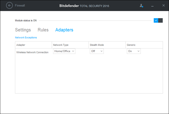 How to create a Firewall zone in Bitdefender 2016 (my wireless