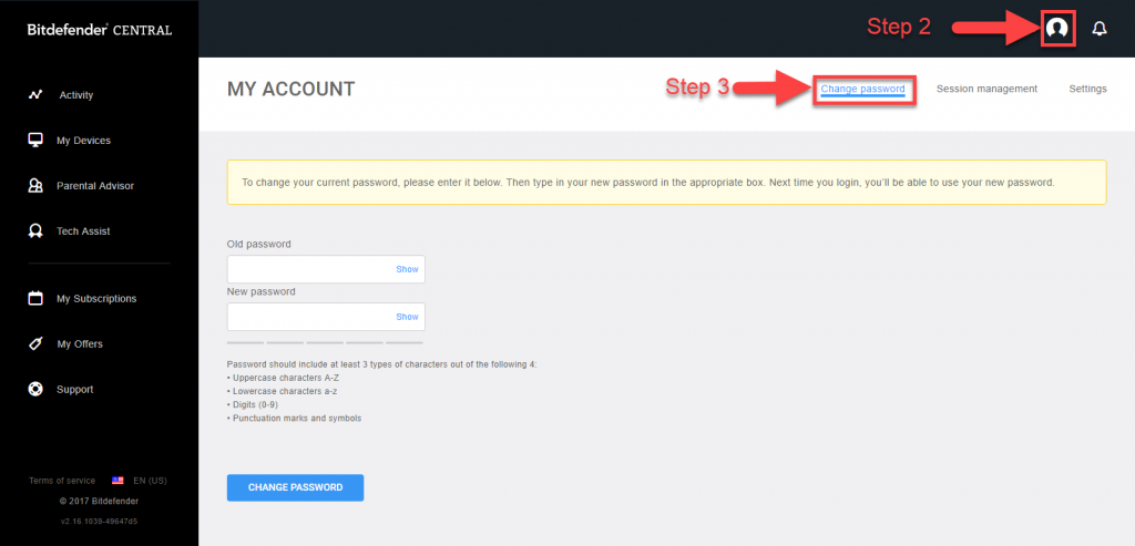 How to reset the password for your Bitdefender Central account