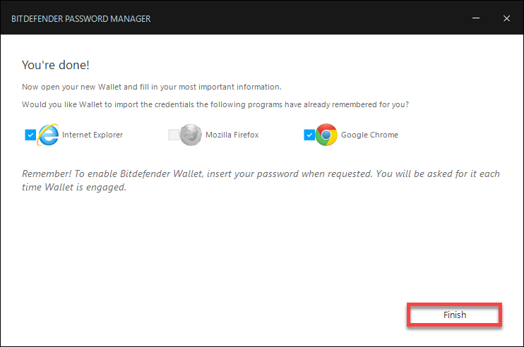 How to create a wallet in Bitdefender