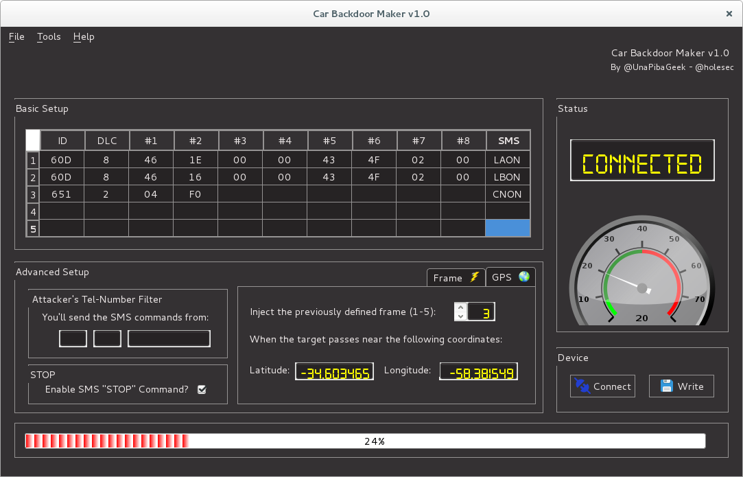 Hardware Backdoor for Remote Control over Cars
