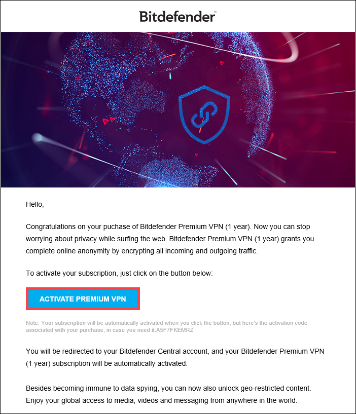 How to activate Bitdefender Premium VPN