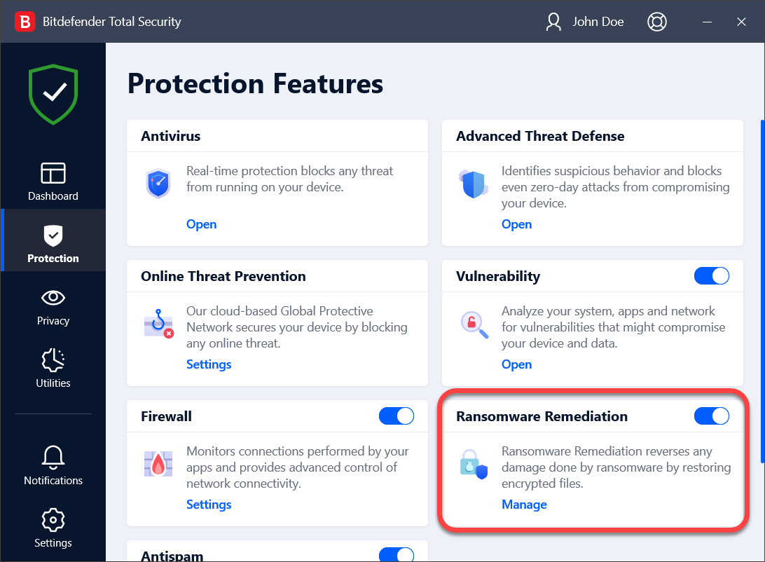 Open Bitdefender and go to Protection to add Ransomware Remediation exceptions