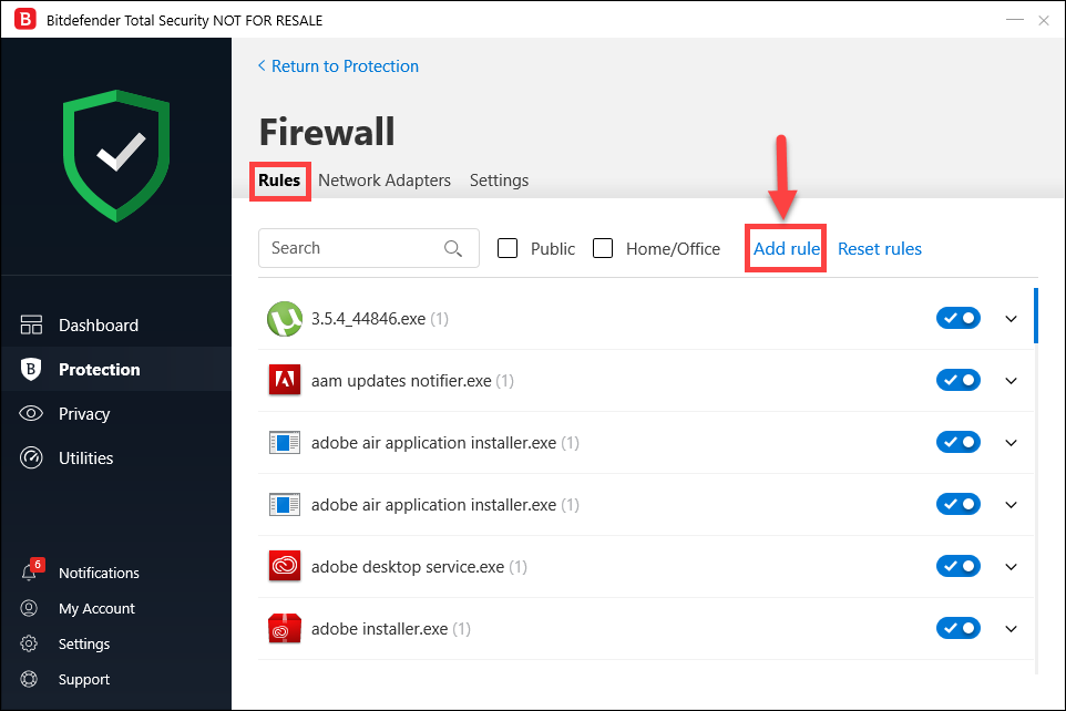 How to add a network exception in Bitdefender